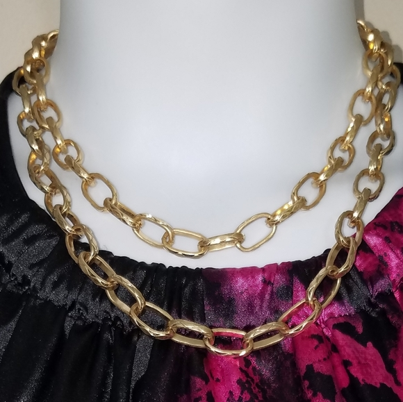 Deborah Scott Jewelry - Necklace brushed gold Paperclip Chain 2 strand NEW